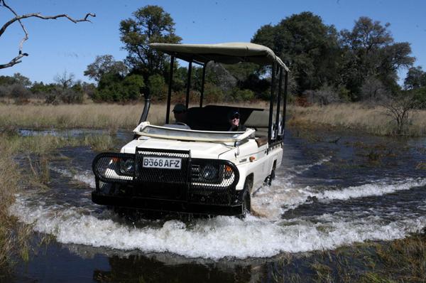 land cruiser in okavango delta water