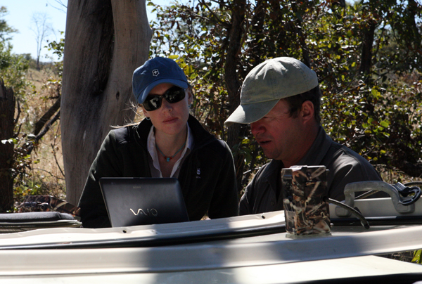 John Sobey and Darley Newman in the Okavango collecting infrared images